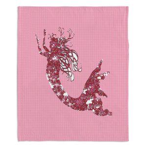 Artistic Sherpa Pile Blankets | Susie Kunzelman - Mermaid II Dark Pink