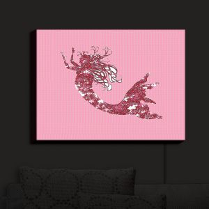 Nightlight Sconce Canvas Light | Susie Kunzelman - Mermaid II Dark Pink | Mermaids Fantasy Magical Childlike