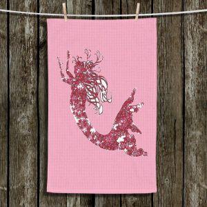 Unique Hanging Tea Towels | Susie Kunzelman - Mermaid II Dark Pink | Mermaids Fantasy Magical Childlike