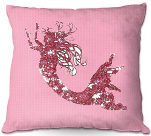 Decorative Outdoor Patio Pillow Cushion   Susie Kunzelman - Mermaid II Dark Pink
