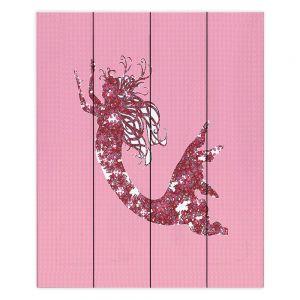 Decorative Wood Plank Wall Art | Susie Kunzelman - Mermaid II Dark Pink