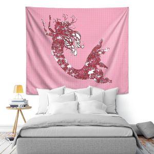 Artistic Wall Tapestry | Susie Kunzelman - Mermaid II Dark Pink