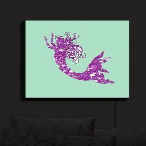 Nightlight Sconce Canvas Light | Susie Kunzelman - Mermaid II Mint Purple | Mermaids Fantasy Magical Childlike