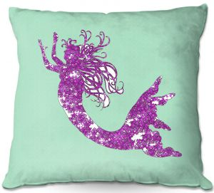 Decorative Outdoor Patio Pillow Cushion | Susie Kunzelman - Mermaid II Mint Purple