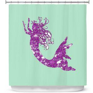 Premium Shower Curtains | Susie Kunzelman - Mermaid II Mint Purple
