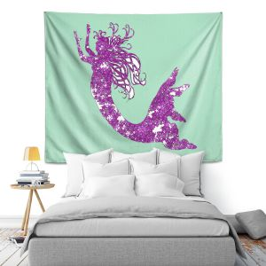 Artistic Wall Tapestry | Susie Kunzelman - Mermaid II Mint Purple