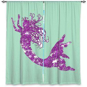 Decorative Window Treatments | Susie Kunzelman - Mermaid II Mint Purple