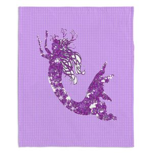 Decorative Fleece Throw Blankets | Susie Kunzelman - Mermaid II Purple