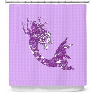 Premium Shower Curtains | Susie Kunzelman - Mermaid II Purple
