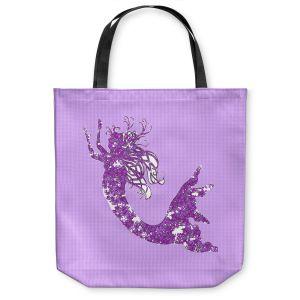 Unique Shoulder Bag Tote Bags | Susie Kunzelman - Mermaid II Purple