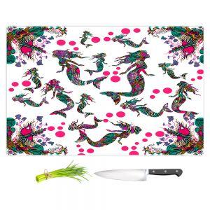 Artistic Kitchen Bar Cutting Boards | Susie Kunzelman - Mermaid 3 Pinks | water ocean pattern repetition