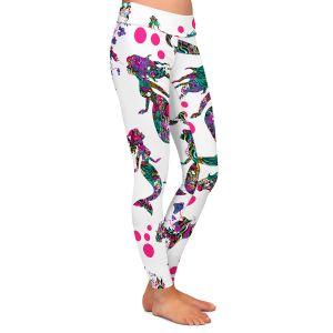Casual Comfortable Leggings | Susie Kunzelman - Mermaid 3 Pinks | water ocean pattern repetition