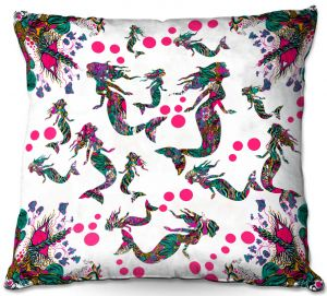 Decorative Outdoor Patio Pillow Cushion | Susie Kunzelman - Mermaid 3 Pinks | water ocean pattern repetition