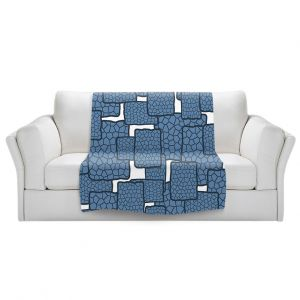 Artistic Sherpa Pile Blankets | Susie Kunzelman - Mid Century Modern H2O | Square rectangle pattern abstract