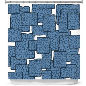 Premium Shower Curtains | Susie Kunzelman - Mid Century Modern H2O | Square rectangle pattern abstract