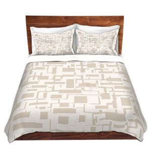 Unique Duvet Covers Discount - Duvet Microfiber Queen set | Susie Kunzelman - Mid Century Cubed Simple
