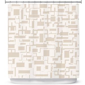 Premium Shower Curtains | Susie Kunzelman - Mid Century Cubed Simple | Square rectangle pattern abstract