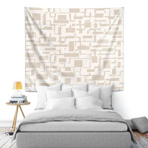 Artistic Wall Tapestry | Susie Kunzelman - Mid Century Cubed Simple | Square rectangle pattern abstract