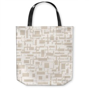 Unique Shoulder Bag Tote Bags | Susie Kunzelman - Mid Century Cubed Simple | Square rectangle pattern abstract