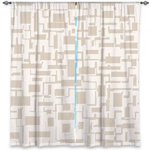 Decorative Window Treatments | Susie Kunzelman - Mid Century Cubed Simple | Square rectangle pattern abstract