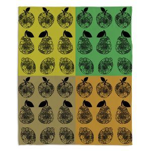 Decorative Fleece Throw Blankets | Susie Kunzelman - Mod Fruit Squares Fall Golds 2 | Pattern repetition pop art