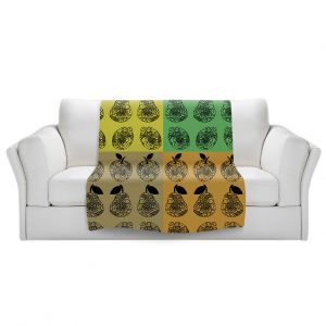 Artistic Sherpa Pile Blankets | Susie Kunzelman - Mod Fruit Squares Fall Golds 2 | Pattern repetition pop art