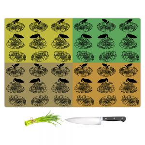 Artistic Kitchen Bar Cutting Boards   Susie Kunzelman - Mod Fruit Squares Fall Golds 2   Pattern repetition pop art