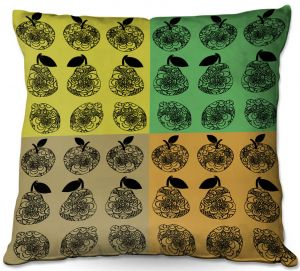 Throw Pillows Decorative Artistic | Susie Kunzelman - Mod Fruit Squares Fall Golds 2 | Pattern repetition pop art