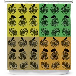 Premium Shower Curtains | Susie Kunzelman - Mod Fruit Squares Fall Golds 2 | Pattern repetition pop art