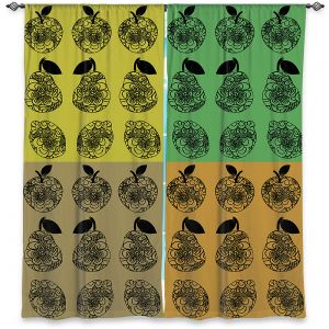 Decorative Window Treatments | Susie Kunzelman - Mod Fruit Squares Fall Golds 2 | Pattern repetition pop art