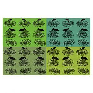 Decorative Floor Covering Mats | Susie Kunzelman - Mod Fruit Squares Greens 3 | Pattern repetition pop art