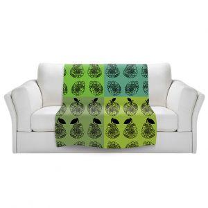 Artistic Sherpa Pile Blankets | Susie Kunzelman - Mod Fruit Squares Greens 3 | Pattern repetition pop art