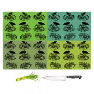 Artistic Kitchen Bar Cutting Boards   Susie Kunzelman - Mod Fruit Squares Greens 3   Pattern repetition pop art