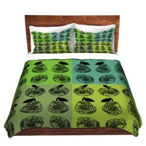 Artistic Duvet Covers and Shams Bedding | Susie Kunzelman - Mod Fruit Squares Greens 3 | Pattern repetition pop art