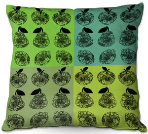 Throw Pillows Decorative Artistic | Susie Kunzelman - Mod Fruit Squares Greens 3 | Pattern repetition pop art