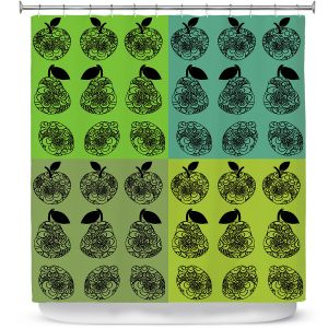 Premium Shower Curtains | Susie Kunzelman - Mod Fruit Squares Greens 3 | Pattern repetition pop art