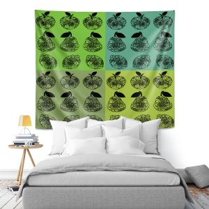 Artistic Wall Tapestry | Susie Kunzelman - Mod Fruit Squares Greens 3 | Pattern repetition pop art