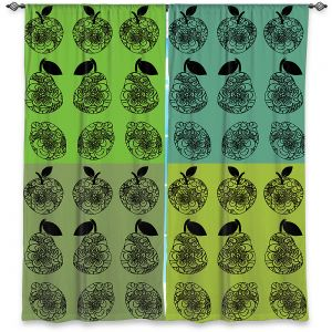 Decorative Window Treatments | Susie Kunzelman - Mod Fruit Squares Greens 3 | Pattern repetition pop art