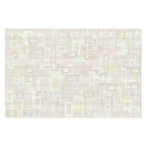 Decorative Floor Covering Mats | Susie Kunzelman - Mod Squares Creams | Pattern abstract light