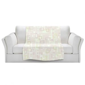 Artistic Sherpa Pile Blankets | Susie Kunzelman - Mod Squares Creams | Pattern abstract light