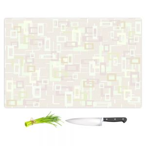 Artistic Kitchen Bar Cutting Boards | Susie Kunzelman - Mod Squares Creams | Pattern abstract light