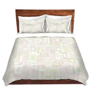 Artistic Duvet Covers and Shams Bedding | Susie Kunzelman - Mod Squares Creams | Pattern abstract light