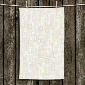 Unique Bathroom Towels | Susie Kunzelman - Mod Squares Creams | Pattern abstract light