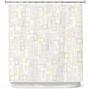 Premium Shower Curtains | Susie Kunzelman - Mod Squares Creams | Pattern abstract light