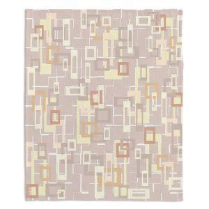 Decorative Fleece Throw Blankets | Susie Kunzelman - Mod Squares Neutral | Pattern abstract light