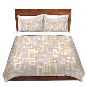 Unique Duvet Covers Discount - Duvet Microfiber Queen set | Susie Kunzelman - Mod Squares Neutral