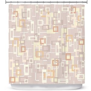 Premium Shower Curtains | Susie Kunzelman - Mod Squares Neutral | Pattern abstract light