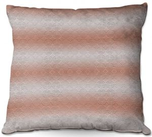 Decorative Outdoor Patio Pillow Cushion | Susie Kunzelman - North East 1 Salmon | Stripe pattern