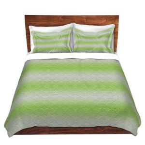 Artistic Duvet Covers and Shams Bedding | Susie Kunzelman - North East 1 Soft Lime | Stripe pattern