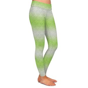 Casual Comfortable Leggings | Susie Kunzelman - North East 1 Soft Lime | Stripe pattern